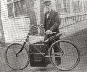 Sylvester Roper with his Steam Velocipede in 1895/6