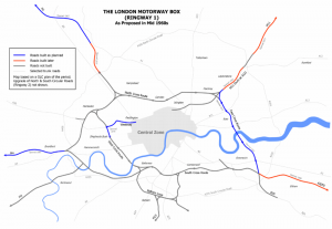 The plans for London's 'Ringway 1' were published, but only two sections were built the East Cross Route from Hackney to Kidbrooke via the Blackwall Tunnel, and a section of the West Cross Route known today as the Westway.