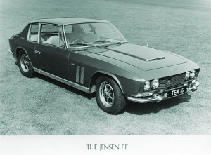 Jensen launched the FF, featuring four-wheel drive, a powerful V8 engine, bold Italian styling and the world's first production car with anti-lock brakes.