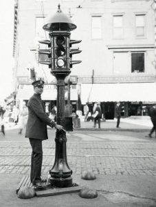 Britain's first set of traffic lights were set up in Piccadilly, London. They were manually operated by a policeman.