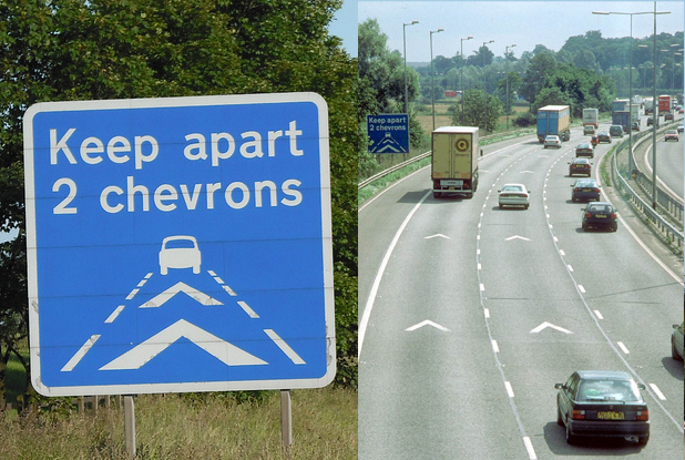 White chevron markings began to appear on motorways to warn motorists about separation distance.