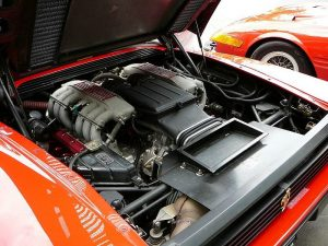 A Testarossa engine with red cam covers.