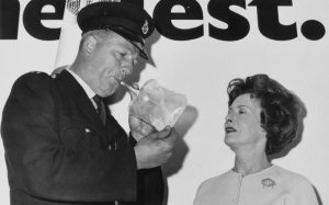 Breathalysers were introduced by the Labour Minister of Transport Barbara Castle. The limit was set at 80mg per 100ml of breath. Refusal to provide a specimen for laboratory test became an offence as de facto failing the test.