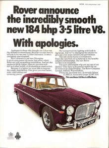 Rover launched the final version of the P5 with a 3.5 litre V8 engine.