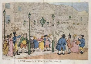 Passersby marvel at new gaslighting (London, 1809)