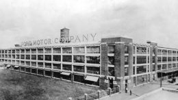 Ford's Highland Park Plant was also known as the 'Crystal Palace' because of the vast expanse of windows. It is the site of the first automotive moving assembly line. From the collections of The Henry Ford and Ford Motor Company.