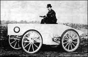 ount Gaston de Chasseloup-Laubat on his electric vehicle - the Jeantaud