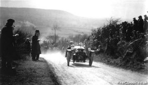 A Morgan three-wheeler breasting the summit of Kop Hill in 1925