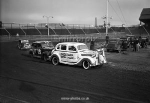 Stock Car Racing , practice session, New Cross Stadium, Hornshay Street, Old Kent Road, London, March 1954.