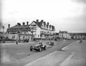Practice run for the second Jersey International Road Race in April 1948 in front of the Grand Hotel ...