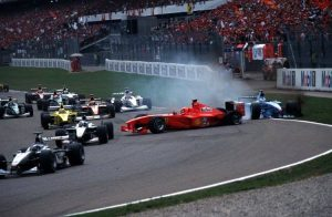 The first lap incident between Michael Schumacher and Giancarlo Fisichella at the 2000 German Grand Prix