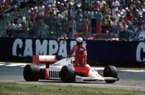 Alain Prost was second before he ran out of fuel at the 1986 German Grand Prix