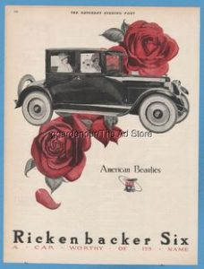 1923 Rickenbacker Six Coupe Motor Car Red Roses American Beauties Detroit MI Ad