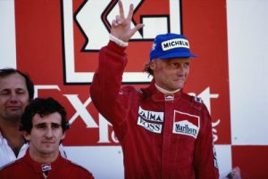 1984 F1 Champion Niki Lauda on the podium